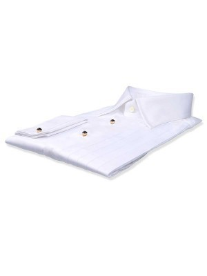 "White Poplin 3/4"" Pleats Classic Collar Formal Shirt"