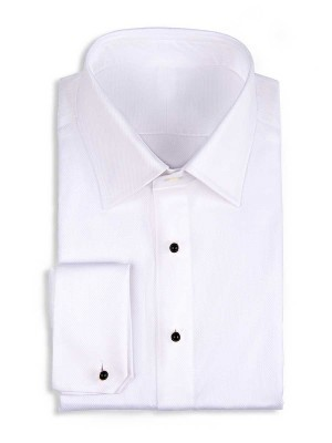 WHITE PIQUE STUD FRONT TRADITIONAL COLLAR FORMAL SHIRT
