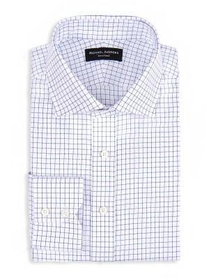 Navy Royal Oxford Check Spread Collar Shirt