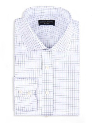 SKY BLUE ROYAL OXFORD CHECK SPREAD COLLAR SHIRT