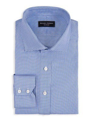 Blue Textured Houndstooth Spread Collar Shirt