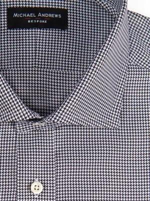 Black & White Twill Houndstooth Spread Collar Shirt