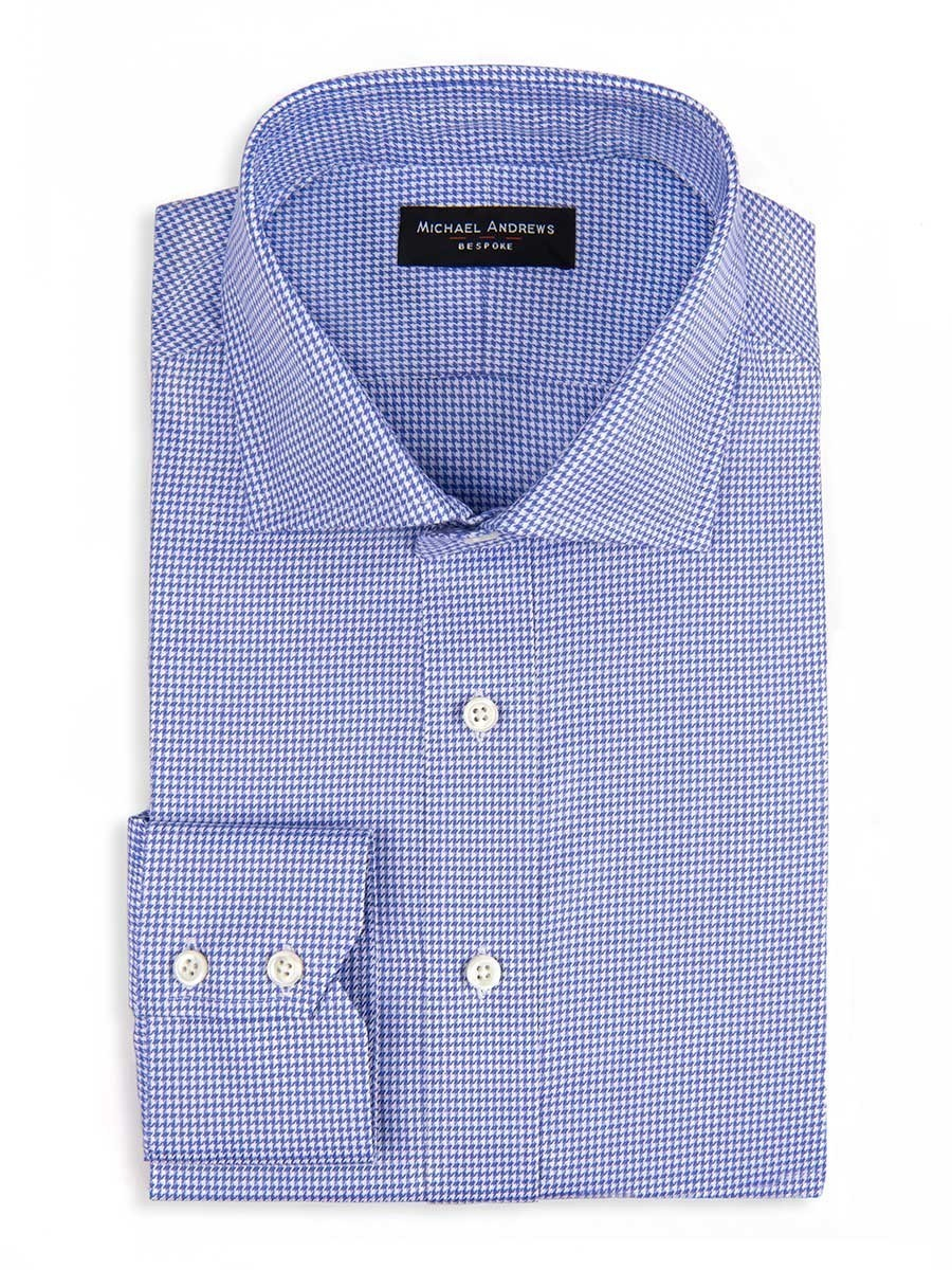 PERIWINKLE TWILL HOUNDSTOOTH SPREAD COLLAR SHIRT