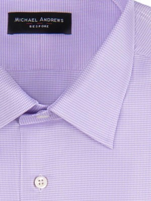 LAVENDER MICRO HOUNDSTOOTH TRADITIONAL COLLAR SHIRT
