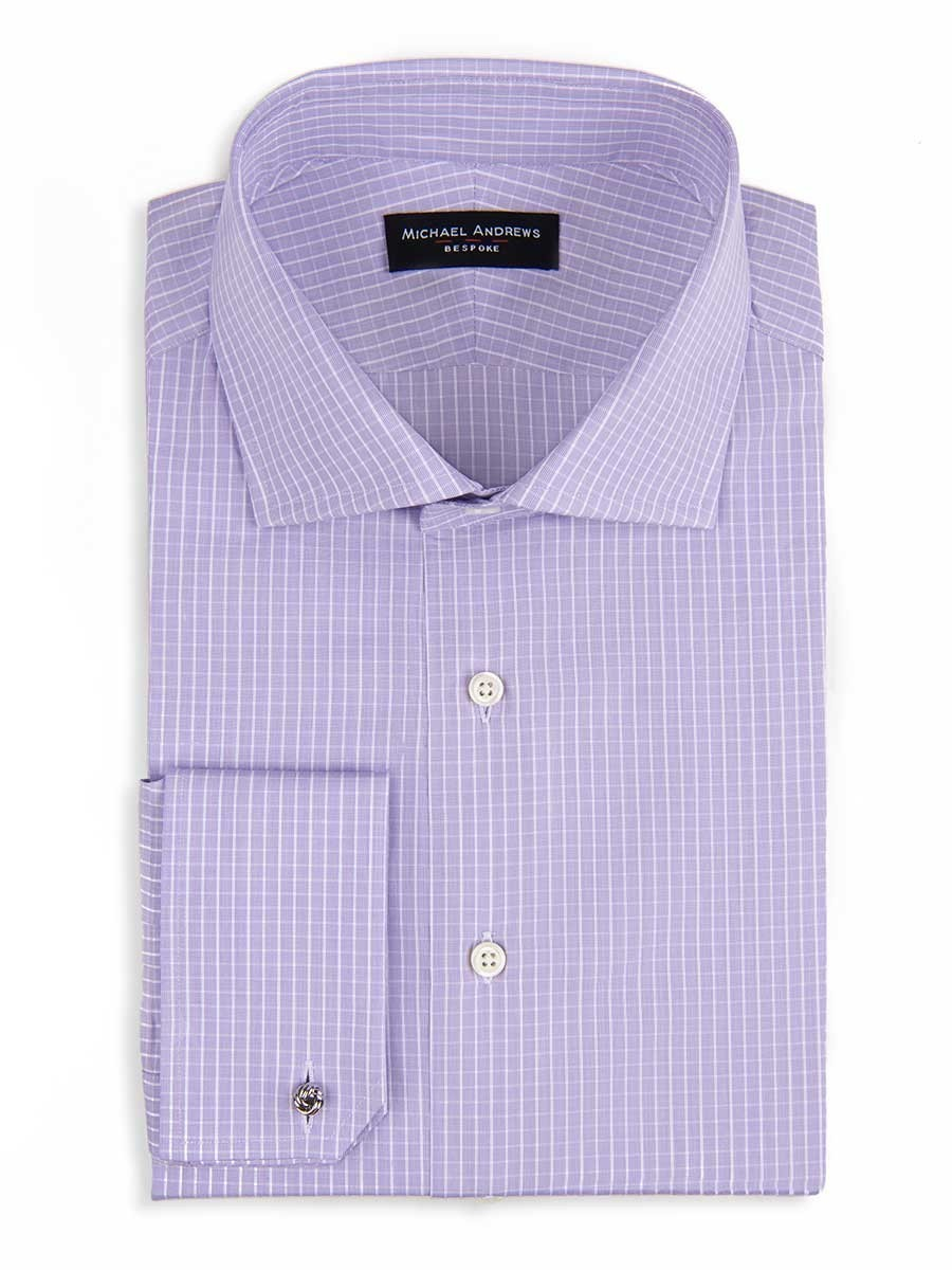 LAVENDER & WHITE CHECK SPREAD COLLAR SHIRT