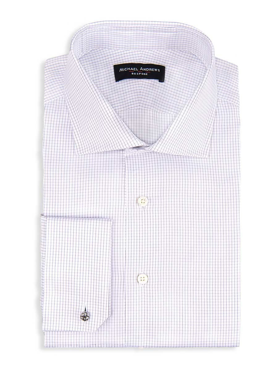 Grey Textured Micro Check Spread Collar Shirt