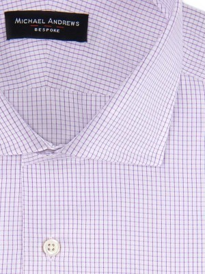 Lavender Textured Micro Check Spread Collar Shirt