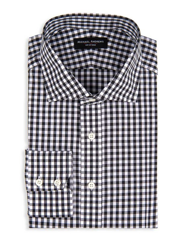 Black Gingham Spread Collar Shirt