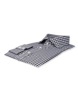 Black Gingham Spread Collar Shirt