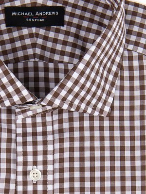 BROWN GINGHAM SPREAD COLLAR SHIRT