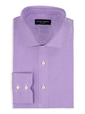 Purple Micro Gingham Spread Collar Shirt