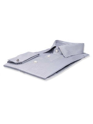 Ice Grey Twill Complex Stripe Classic Collar Shirt