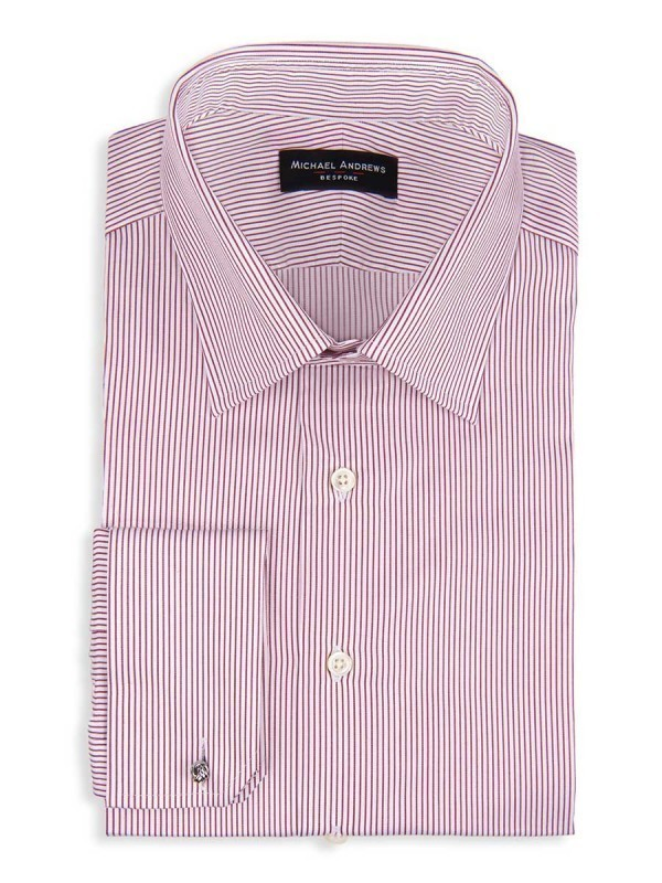 Burgundy Thin Stripe Classic Collar Shirt