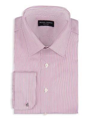 Burgundy Thin Stripe Classic Collar Shirt