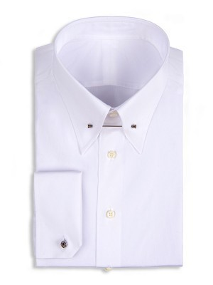 White Poplin Eyelet Collar Shirt