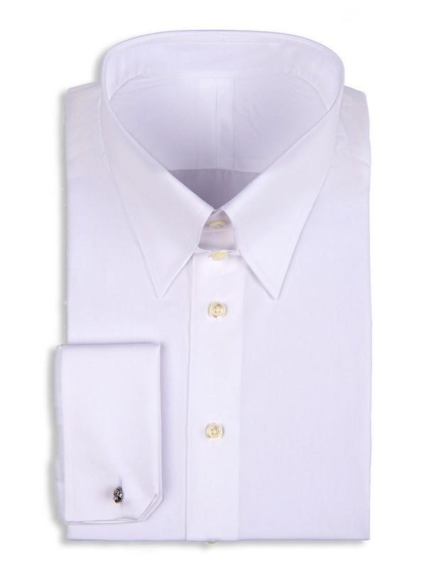 White Poplin Tab Collar Shirt
