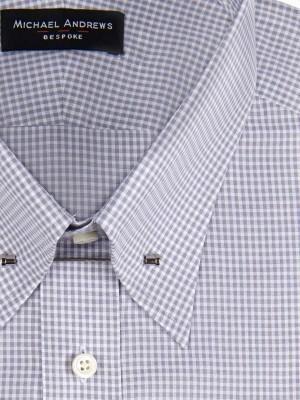 Grey Textured Micro Gingham Eyelet Collar Shirt