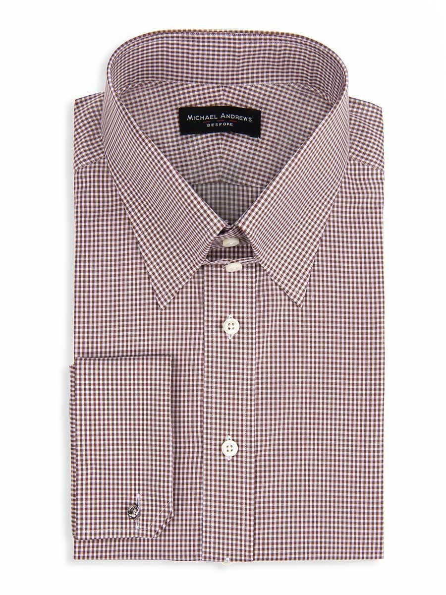 BROWN TEXTURED MICRO GINGHAM TAB COLLAR SHIRT