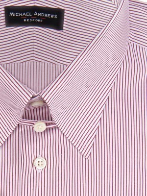 BURGUNDY THIN STRIPE TAB COLLAR SHIRT