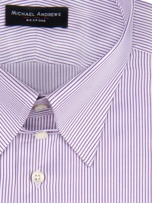 Purple Thin Stirpe Tab Collar Shirt