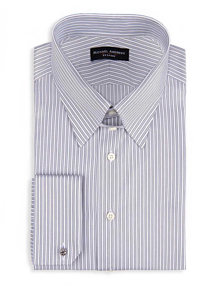 Ice Grey Twill Complex Stripe Tab Collar Shirt