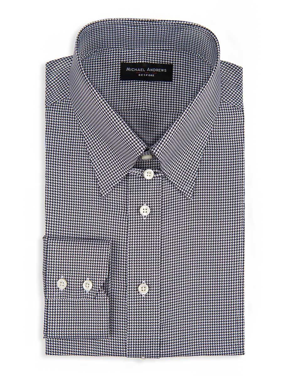 Black & White Twill Houndstooth Tab Collar Shirt