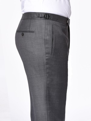 CHARCOAL BIRDSEYE CLASSIC HOOK & EYE TROUSER