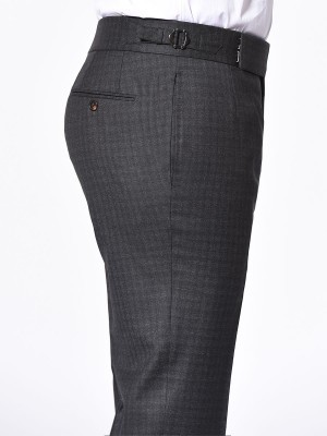 CHARCOAL GUNCHECK SIGNATURE HOOK & EYE TROUSER