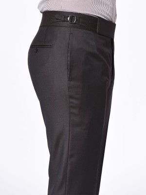 CHOCOLATE TWILL SIGNATURE HOOK & EYE TROUSER