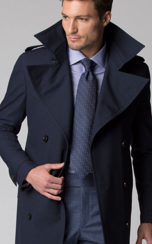 NAVY TWILL LORO PIANA STORM SYSTEM TRENCH COAT