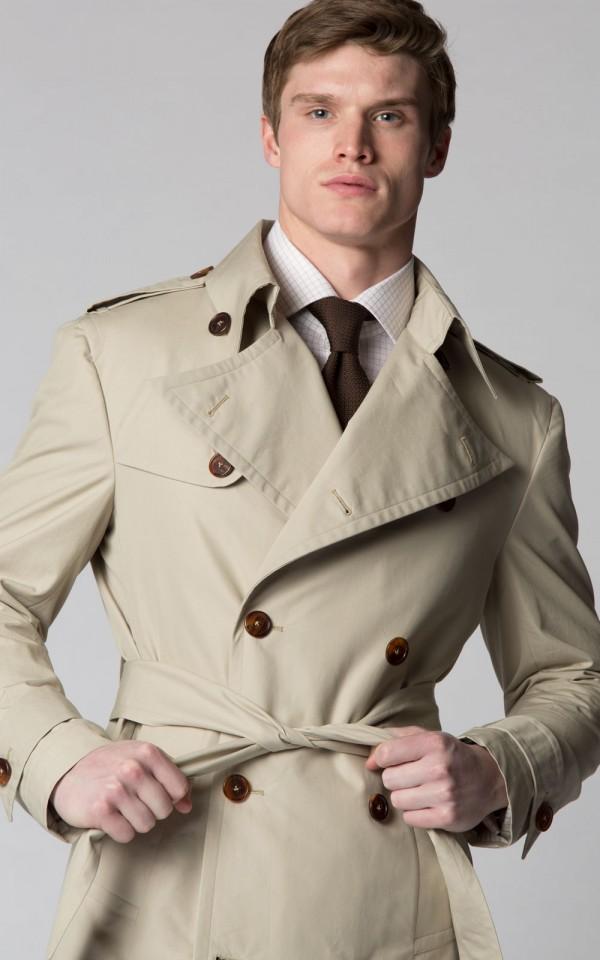 Stone Gabardine Bespoke Trench Coat