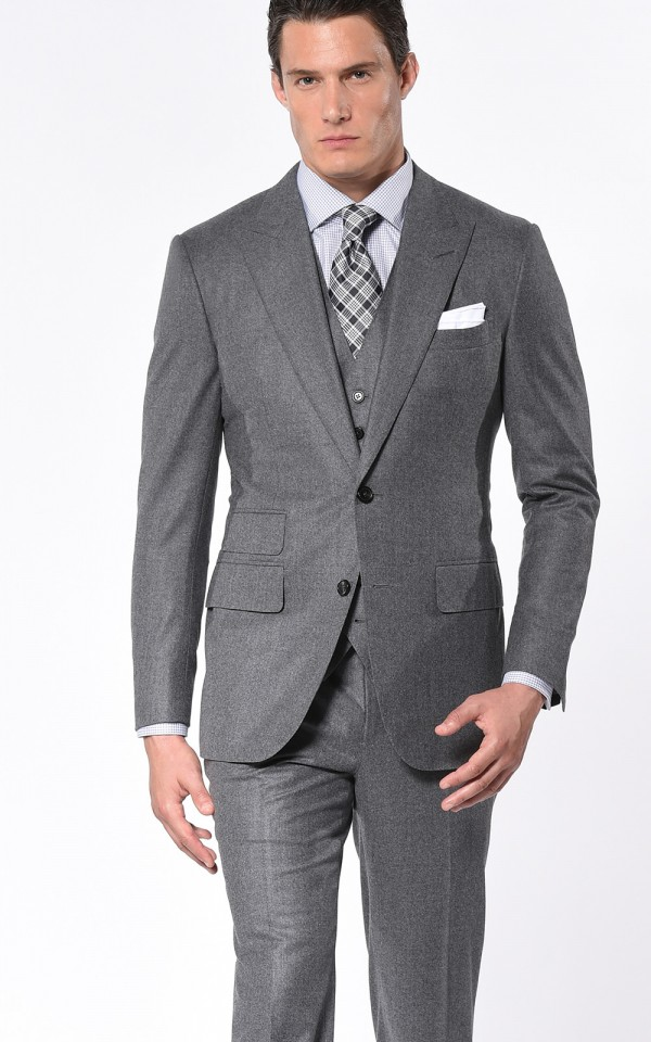Steel Grey Flannel Classic Bespoke Suit