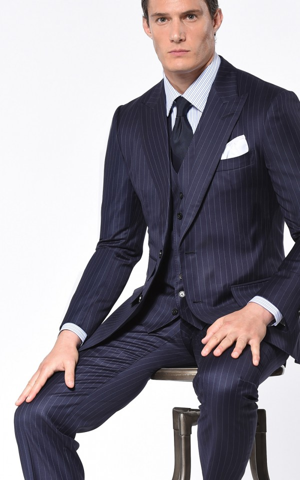 NAVY TWILL STRIPE CLASSIC 2-BUTTON SUIT