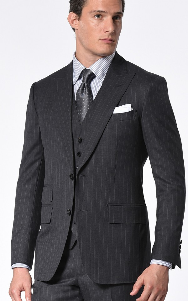 Charcoal Twill Stripe Classic Bespoke Suit
