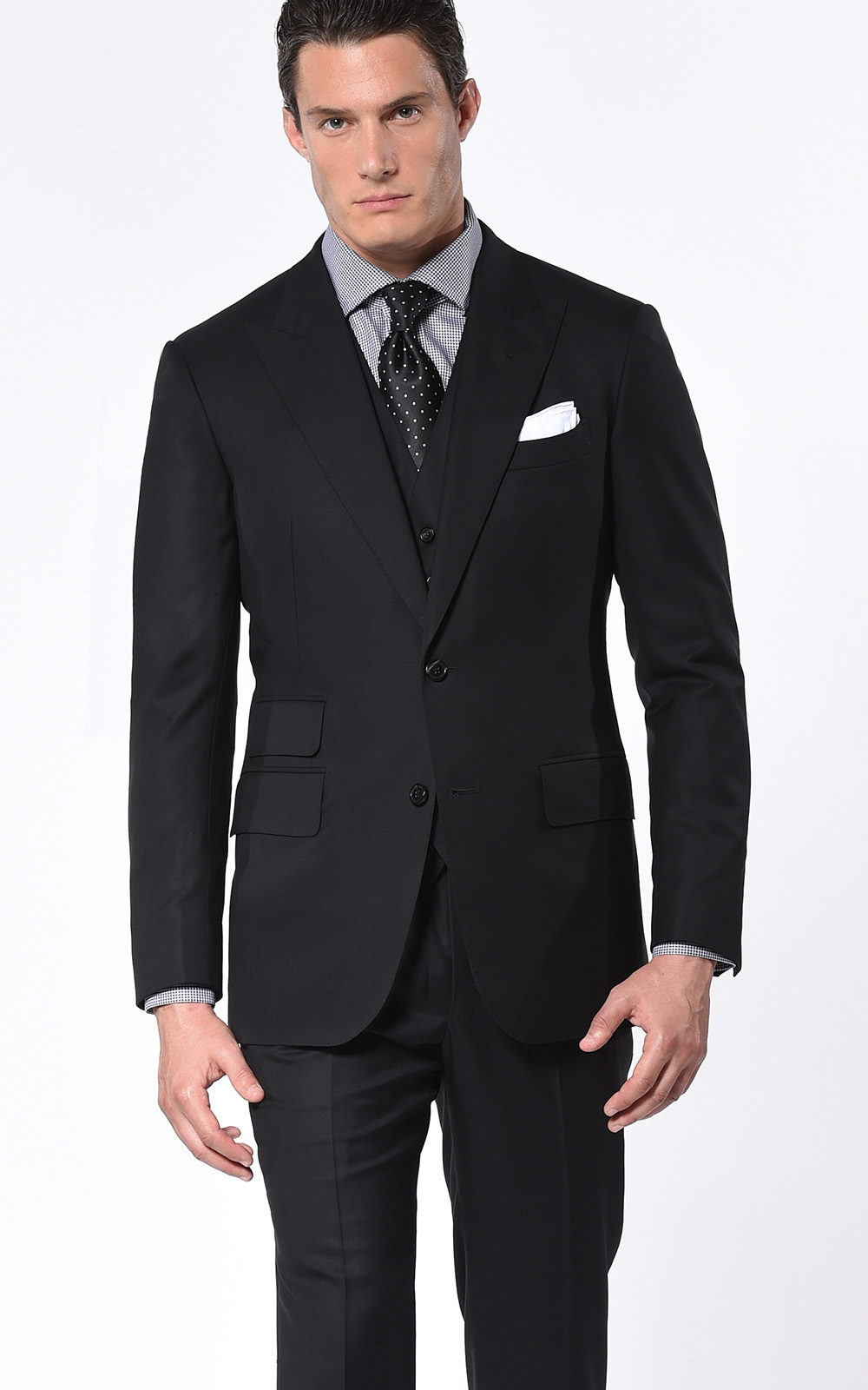Black Two-Button Super 110's Bespoke Suit