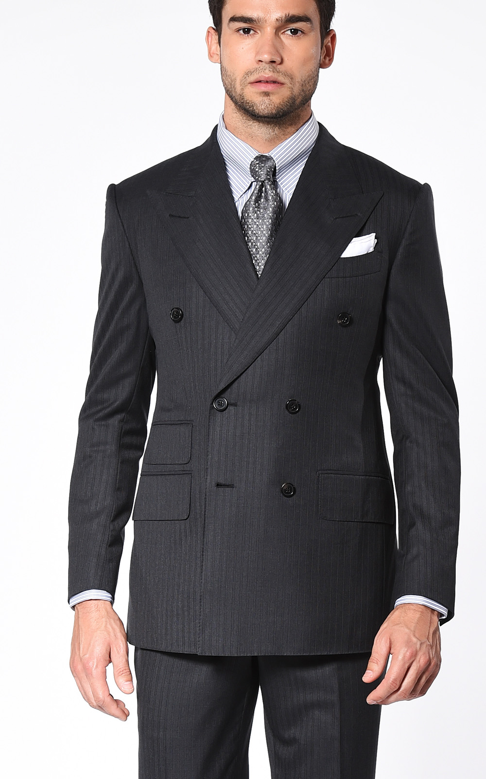 Charcoal Overlay Stripe Double Breasted Signature Bespoke Suit