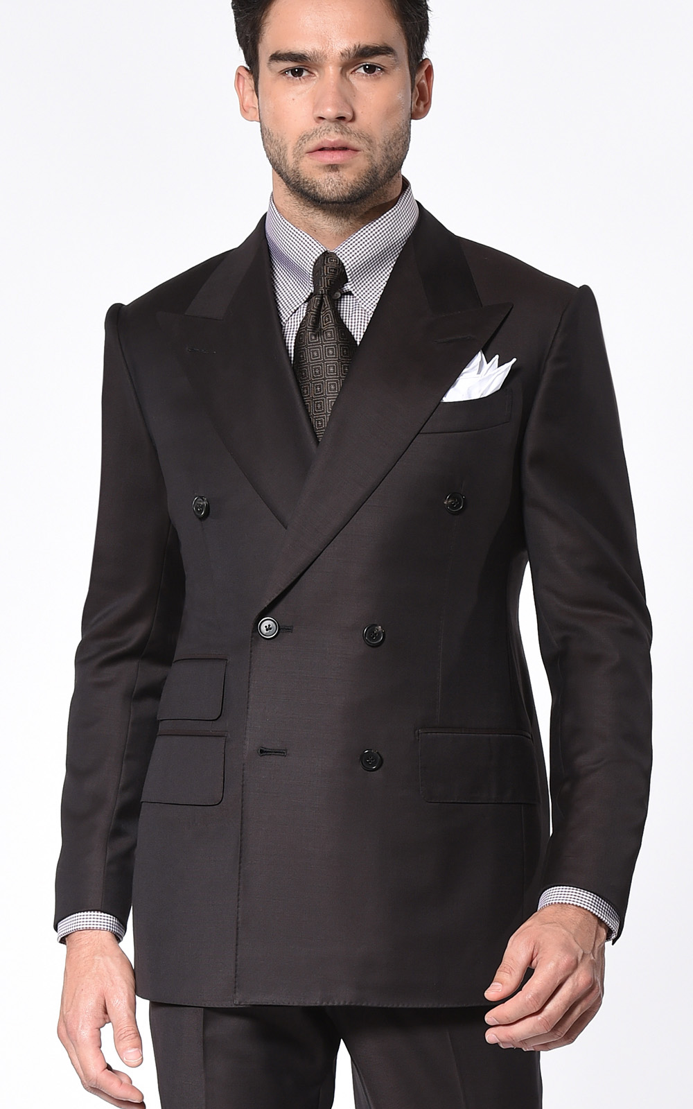 CHOCOLATE TWILL SIGNATURE DOUBLE BREASTED SUIT