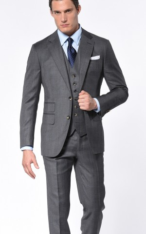 Grey Glen Plaid Windowpane Classic Bespoke Suit