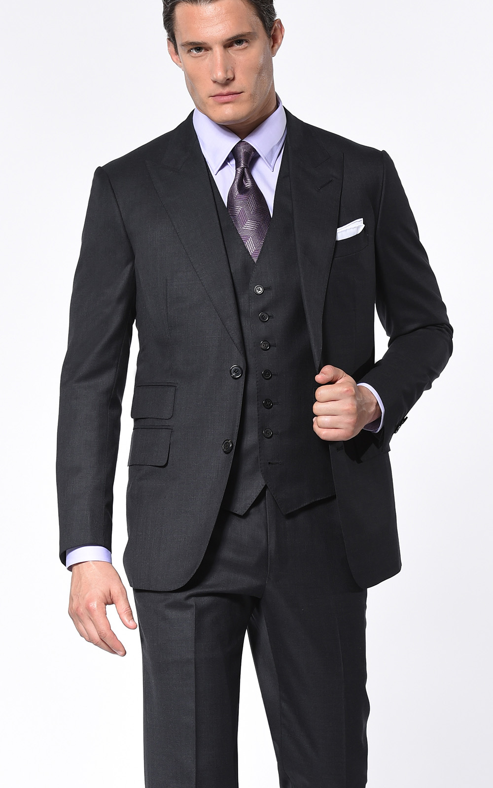 CHARCOAL TWILL CLASSIC 2-BUTTON SUIT