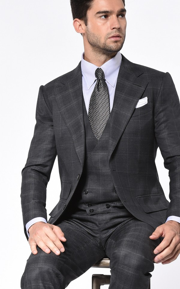 Charcoal Complex Windowpane Signature Bespoke Suit