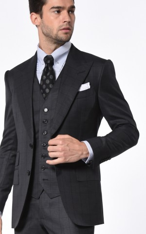 Charcoal Houndstooth Windowpane Signature Bespoke Suit