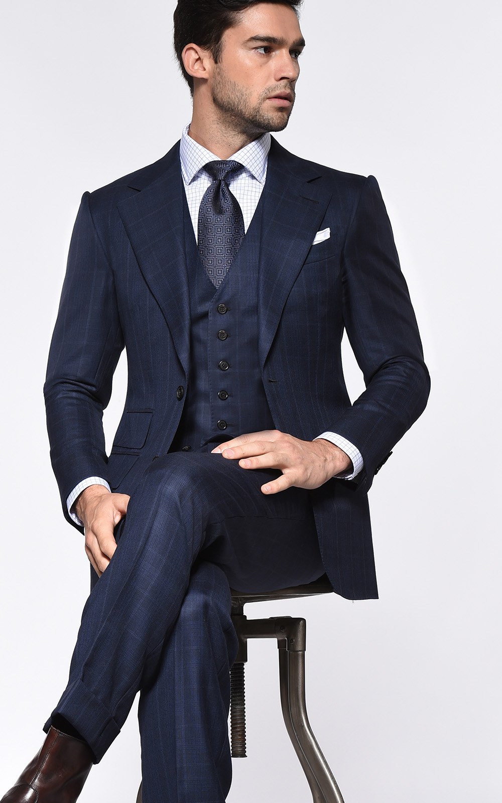 Dark Blue Complex Windowpane Signature Bespoke Suit