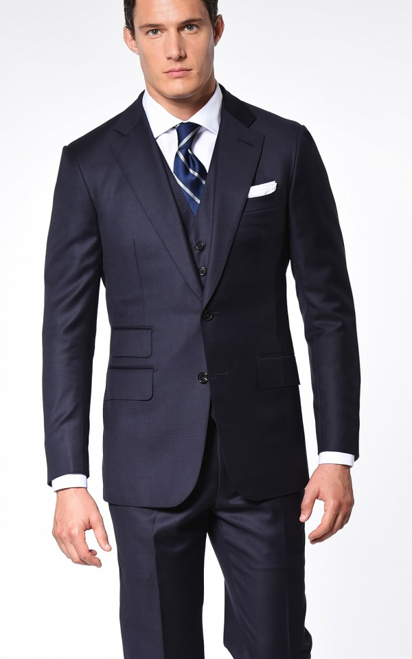 Navy Blue Solid Super 110's Two-Button Bespoke Suit