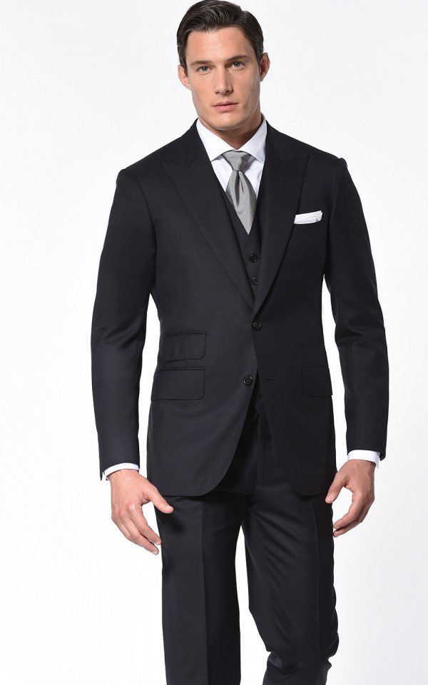 Dark Navy Blue Super 110's Two-Button Bespoke Suit