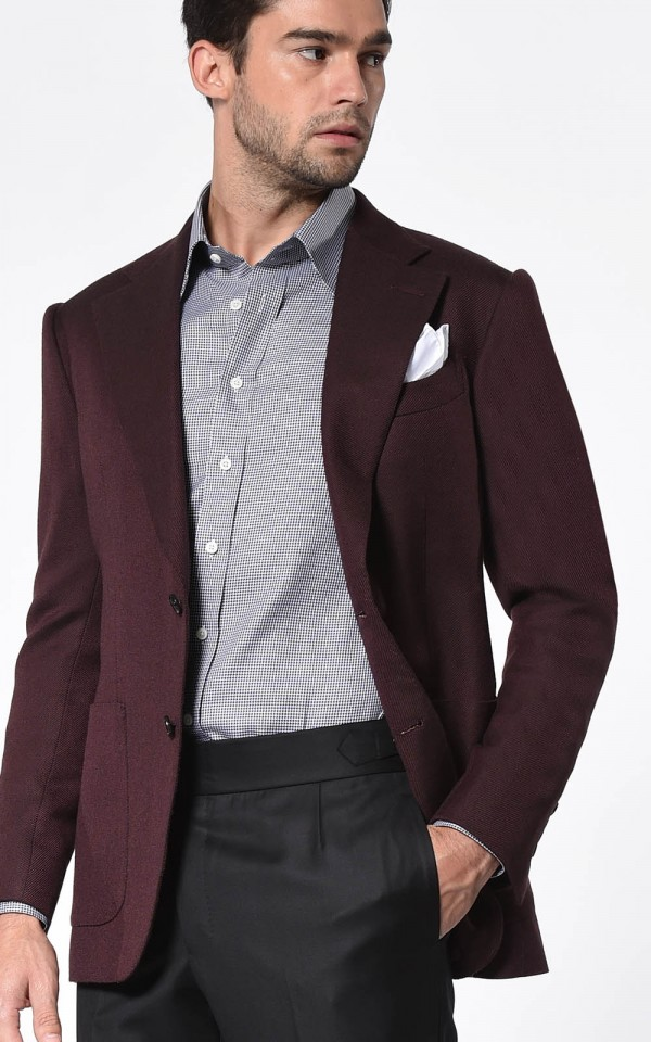 Bordeaux Large Twill Signature 2-Button Bespoke Sport Coat