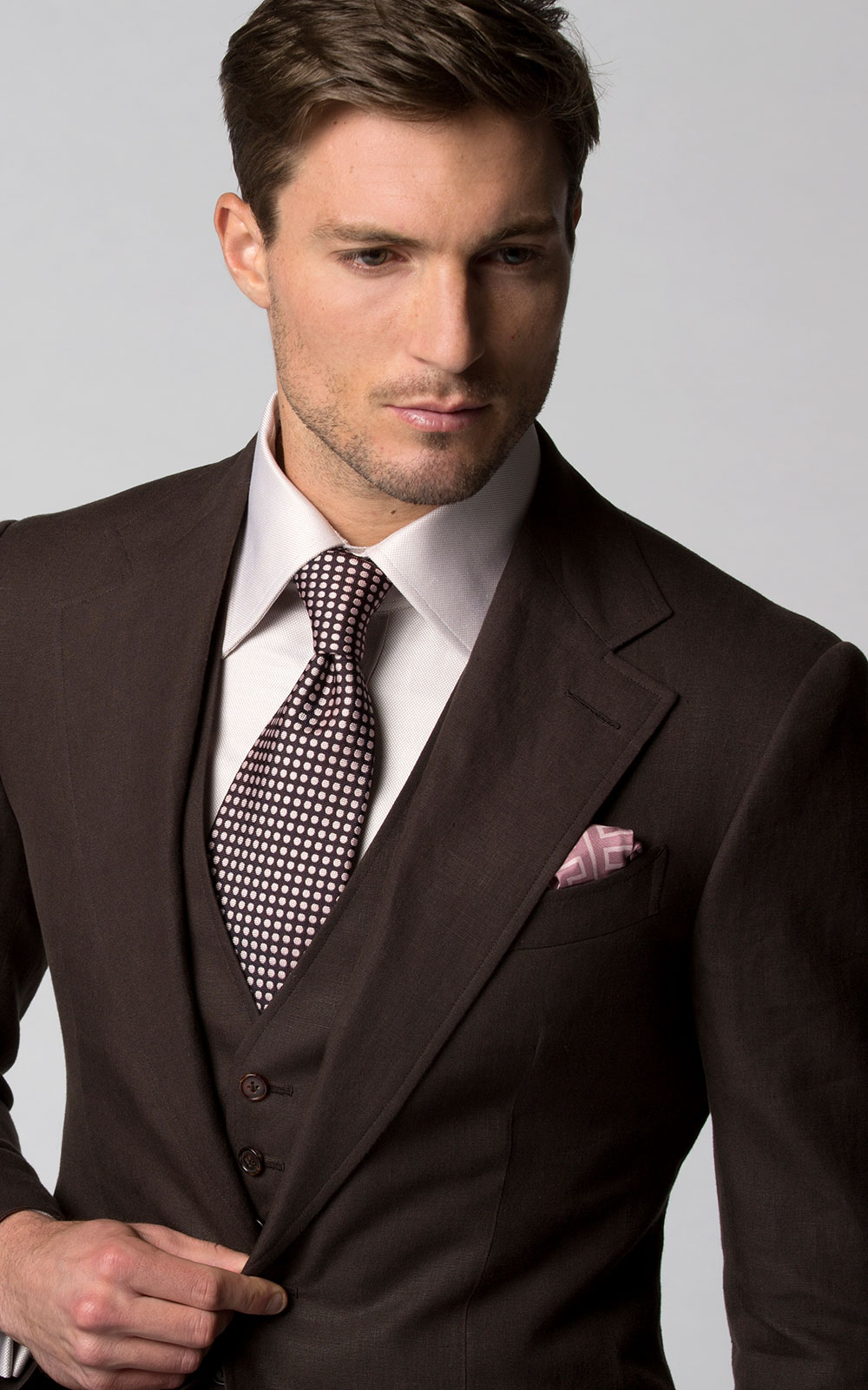 Dark Brown Linen Bespoke Suit