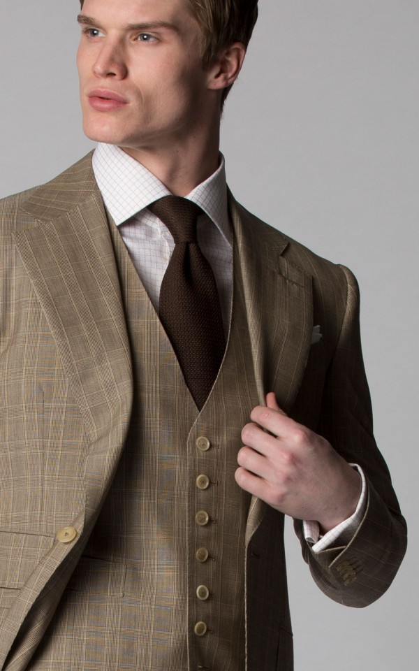 TOBACCO MELANGE GLEN CHECK SUIT