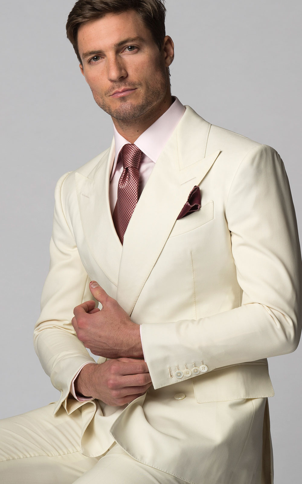 Cream Plain Weave Bespoke Suit