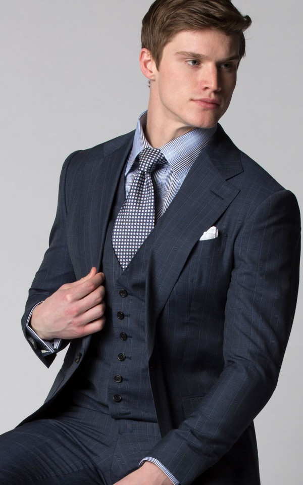 BLUE MELANGE GLEN CHECK SUIT