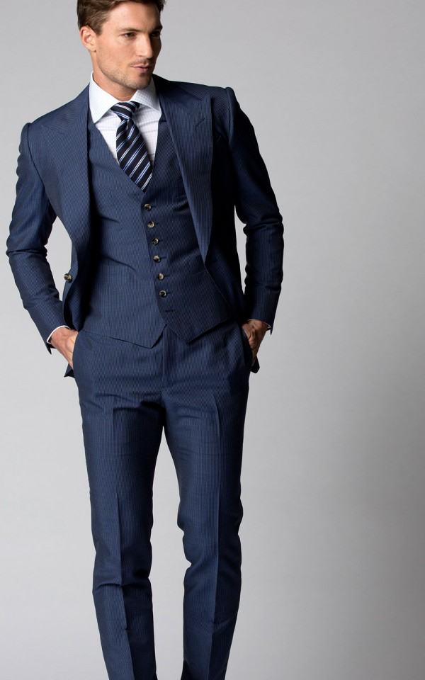 Blue Narrow Stripe Bespoke Suit